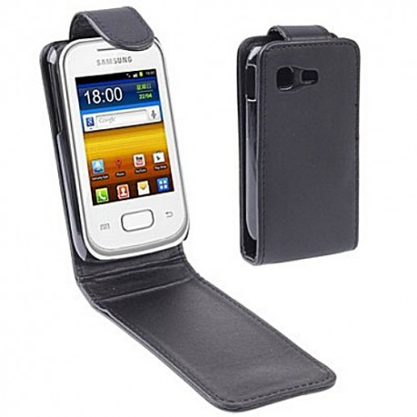 CUSTODIA NERA SIMILPELLE  PER SAMSUNG GALAXY POCKET S5300
